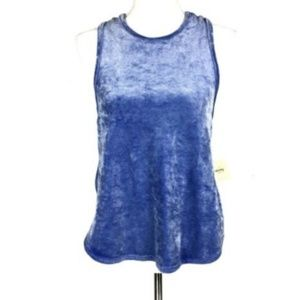 NEW Free People Intimatley Small Blue Velvet Top